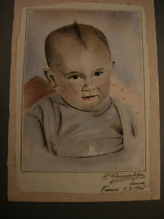 Pastel drawing before treatment with disfiguring stains
