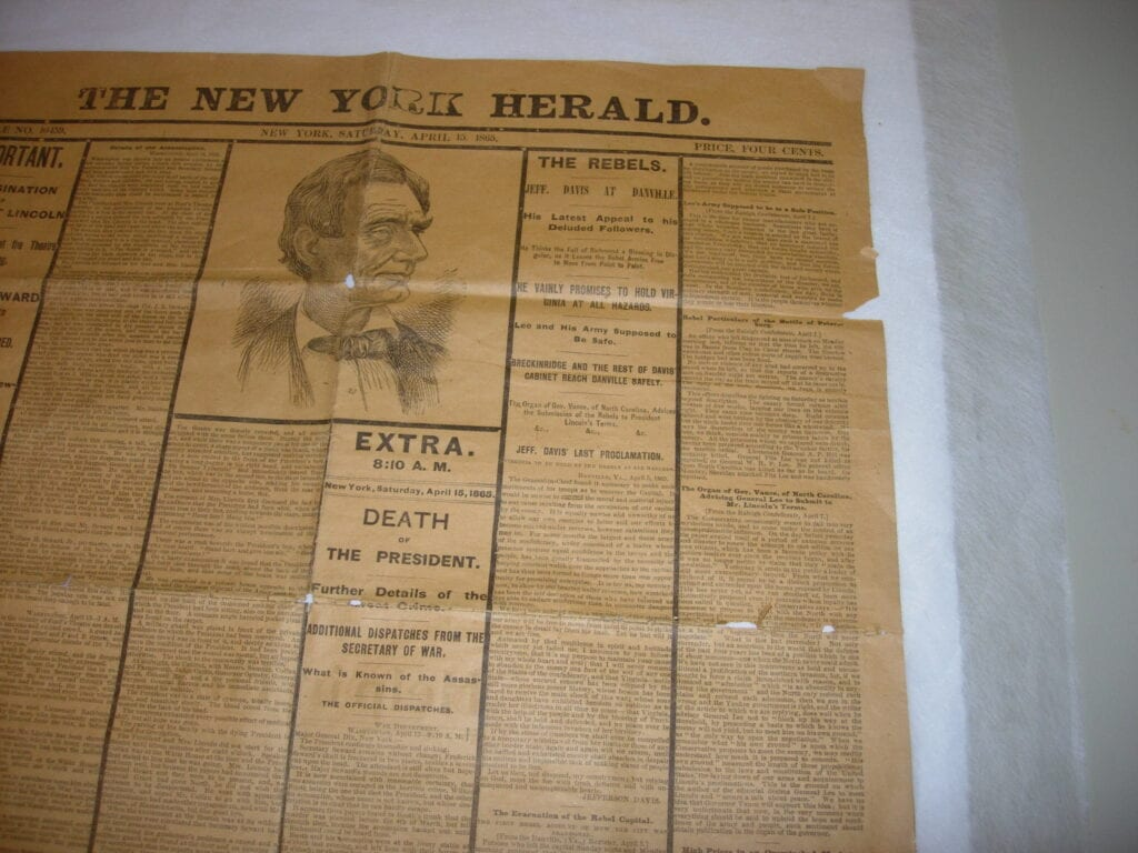 Lincoln Death, Newspaper Reprint before treatment