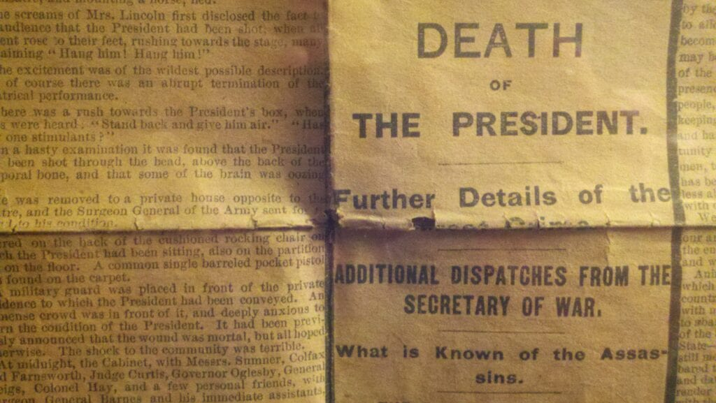 Lincoln Death, Newspaper Reprint detail before treatment