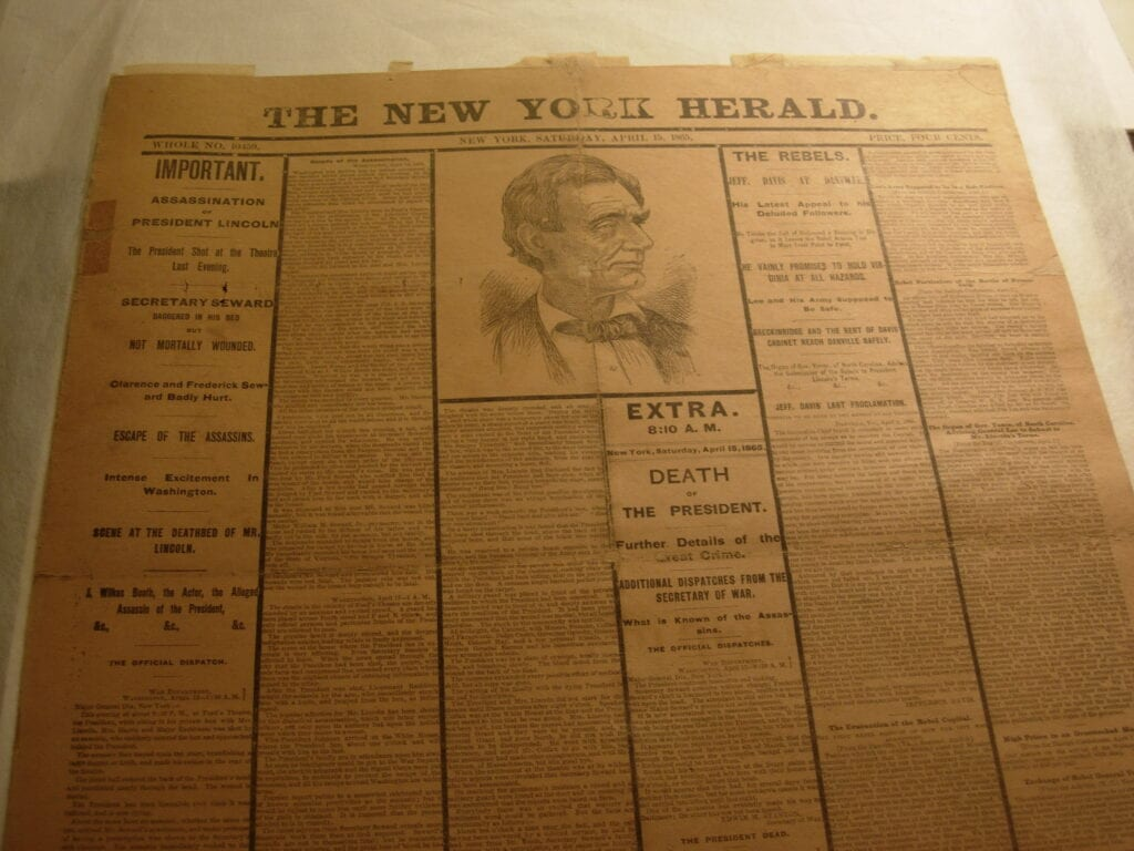 Lincoln Death, Newspaper Reprint after treatment