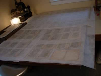 air drying of washed pages between Hollytex